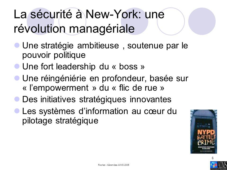 Rochet - Kéramidas AIMS 2005 7 NYPD Principes clés de management Mandat politique clair Changement radical (Turc 2004) Mobilisation du personnel (Igalens 1997) Forte décentralisation des responsabilités Développement innovant Communication sur les objectifs de performance globale