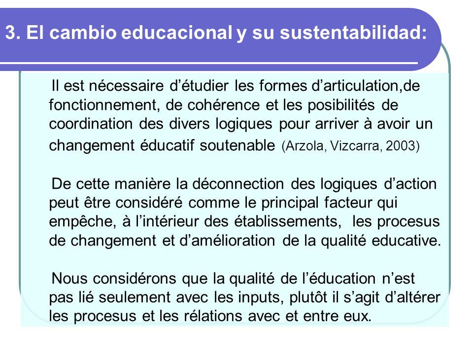 3. El cambio educacional y su sustentabilidad: Il est nécessaire détudier les formes darticulation,de fonctionnement, de cohérence et les posibilités