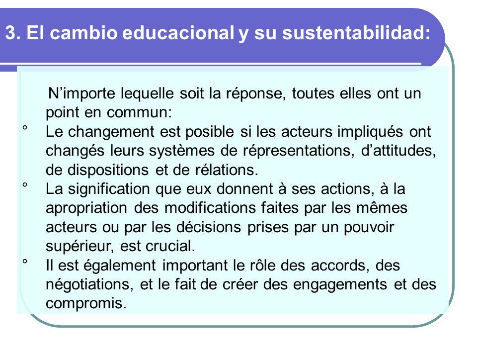 3. El cambio educacional y su sustentabilidad: Nimporte lequelle soit la réponse, toutes elles ont un point en commun: ° Le changement est posible si