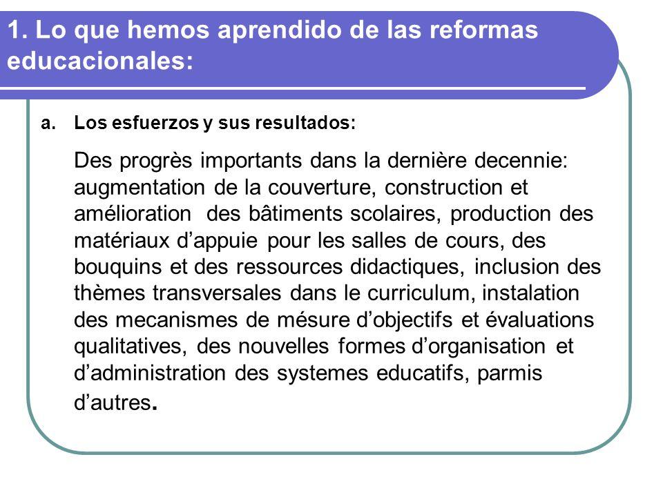 1. Lo que hemos aprendido de las reformas educacionales: a.Los esfuerzos y sus resultados: Des progrès importants dans la dernière decennie: augmentat