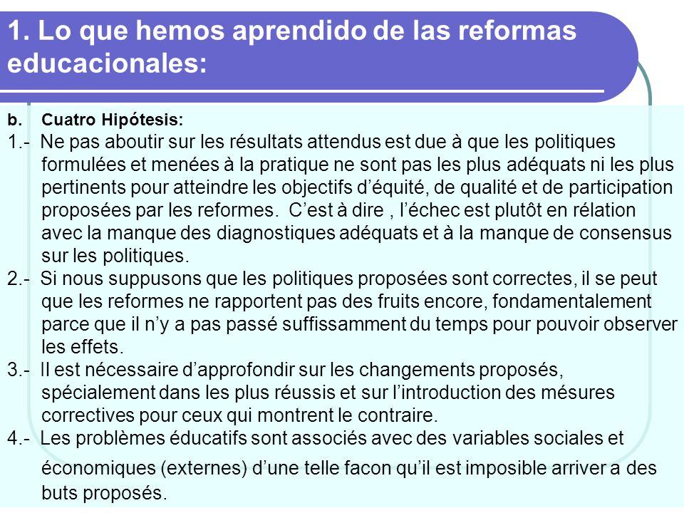 1. Lo que hemos aprendido de las reformas educacionales: b.Cuatro Hipótesis: 1.- Ne pas aboutir sur les résultats attendus est due à que les politique