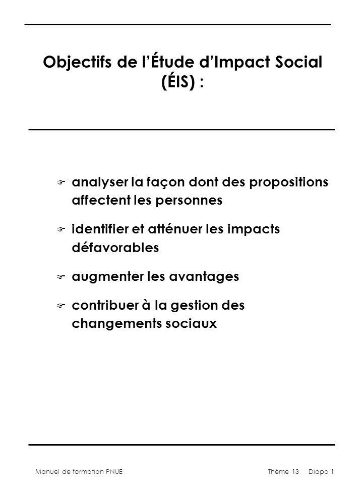 Manuel de formation PNUEThème 13 Diapo 1 Objectifs de lÉtude dImpact Social (ÉIS) : F analyser la façon dont des propositions affectent les personnes F identifier et atténuer les impacts défavorables F augmenter les avantages F contribuer à la gestion des changements sociaux