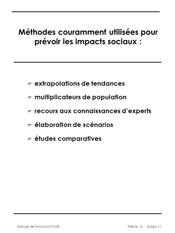 Manuel de formation PNUEThème 13 Diapo 11 Méthodes couramment utilisées pour prévoir les impacts sociaux : F extrapolations de tendances F multiplicat