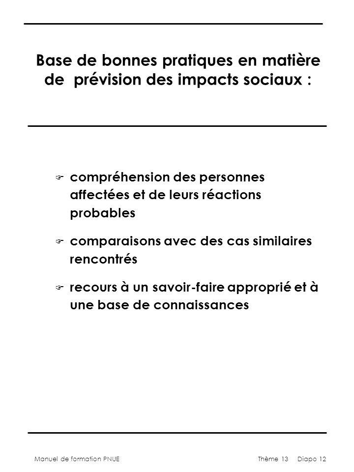 Manuel de formation PNUEThème 13 Diapo 12 Base de bonnes pratiques en matière de prévision des impacts sociaux : F compréhension des personnes affectées et de leurs réactions probables F comparaisons avec des cas similaires rencontrés F recours à un savoir-faire approprié et à une base de connaissances