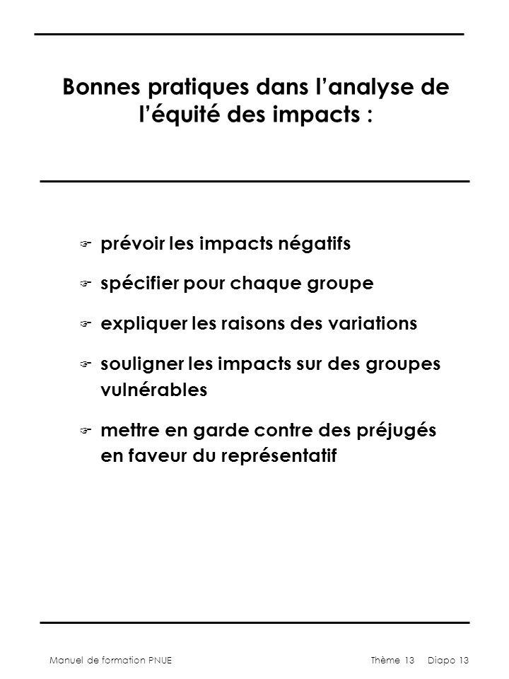 Manuel de formation PNUEThème 13 Diapo 13 Bonnes pratiques dans lanalyse de léquité des impacts : F prévoir les impacts négatifs F spécifier pour chaq