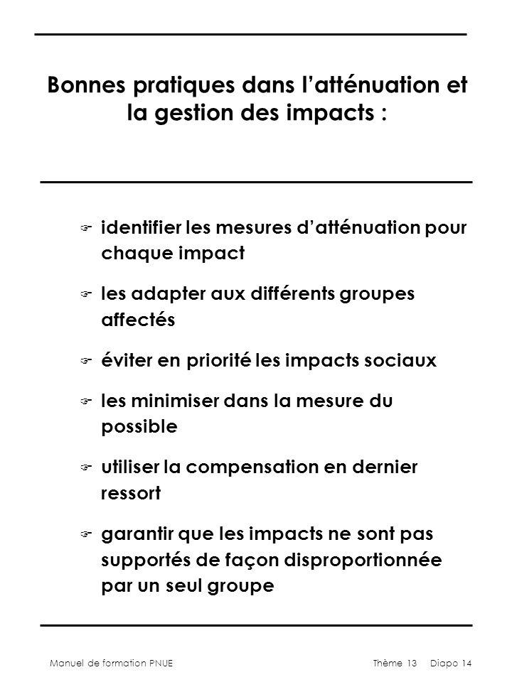Manuel de formation PNUEThème 13 Diapo 14 Bonnes pratiques dans latténuation et la gestion des impacts : F identifier les mesures datténuation pour ch