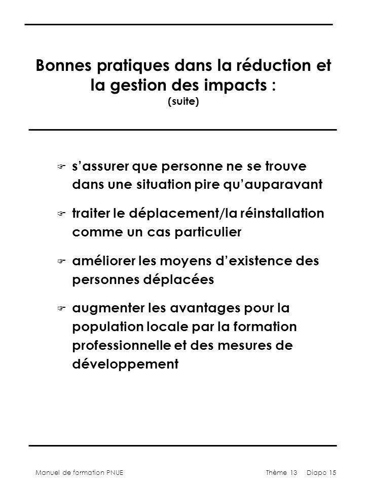 Manuel de formation PNUEThème 13 Diapo 15 Bonnes pratiques dans la réduction et la gestion des impacts : (suite) F sassurer que personne ne se trouve