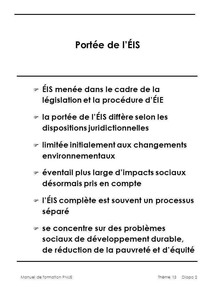 Manuel de formation PNUEThème 13 Diapo 2 Portée de lÉIS F ÉIS menée dans le cadre de la législation et la procédure dÉIE F la portée de lÉIS diffère selon les dispositions juridictionnelles F limitée initialement aux changements environnementaux F éventail plus large dimpacts sociaux désormais pris en compte F lÉIS complète est souvent un processus séparé F se concentre sur des problèmes sociaux de développement durable, de réduction de la pauvreté et déquité