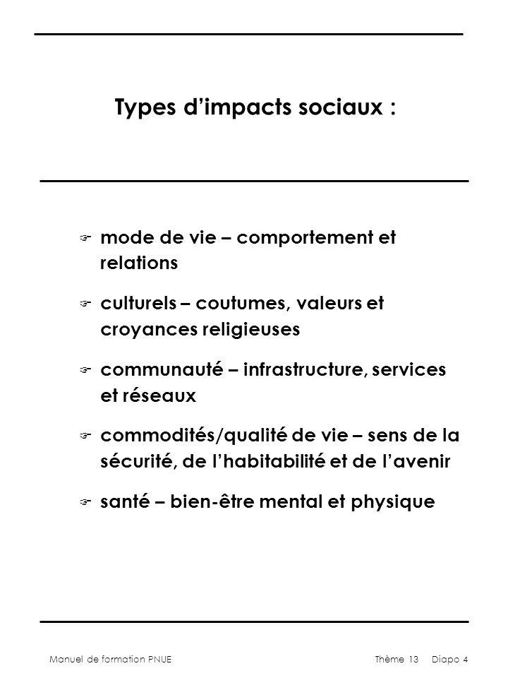 Manuel de formation PNUEThème 13 Diapo 4 Types dimpacts sociaux : F mode de vie – comportement et relations F culturels – coutumes, valeurs et croyanc