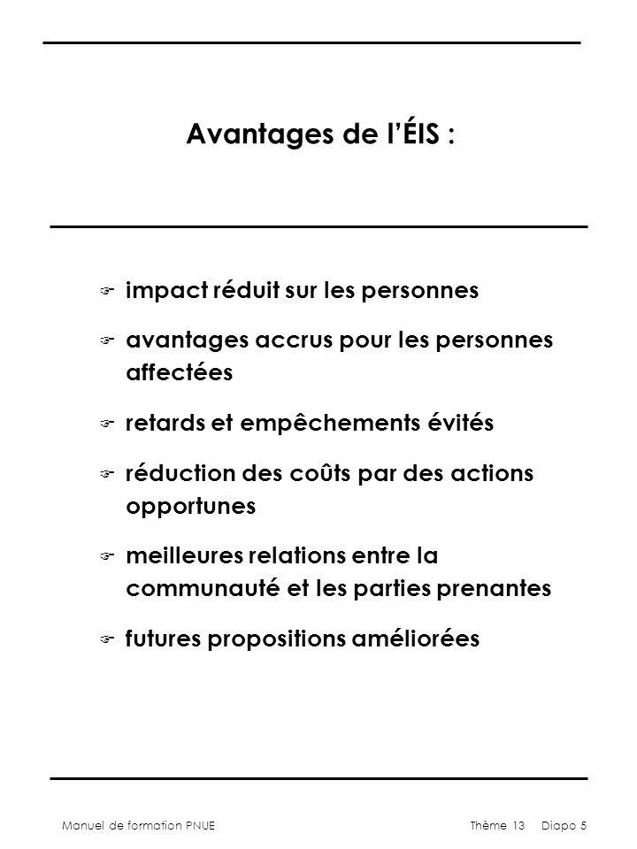 Manuel de formation PNUEThème 13 Diapo 5 Avantages de lÉIS : F impact réduit sur les personnes F avantages accrus pour les personnes affectées F retards et empêchements évités F réduction des coûts par des actions opportunes F meilleures relations entre la communauté et les parties prenantes F futures propositions améliorées