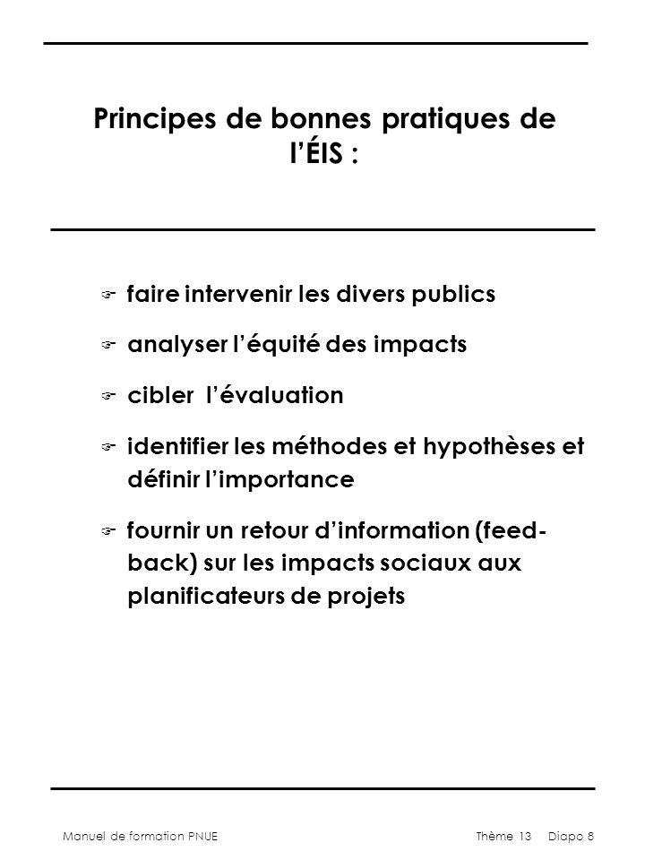 Manuel de formation PNUEThème 13 Diapo 8 Principes de bonnes pratiques de lÉIS : F faire intervenir les divers publics F analyser léquité des impacts