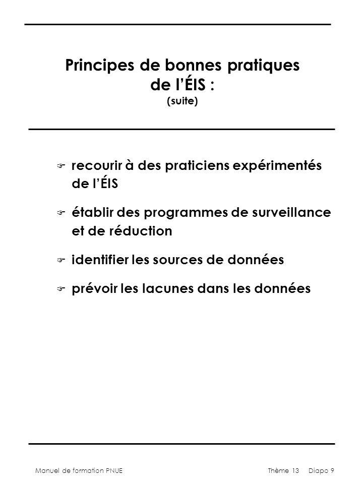 Manuel de formation PNUEThème 13 Diapo 9 Principes de bonnes pratiques de lÉIS : (suite) F recourir à des praticiens expérimentés de lÉIS F établir de
