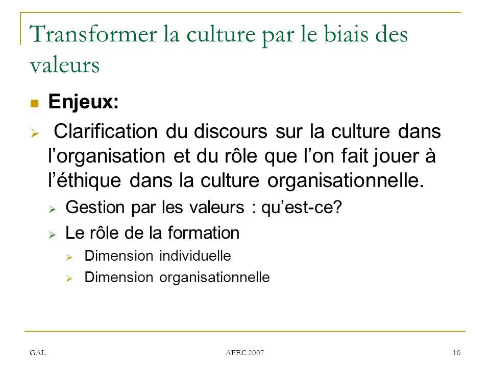 GAL APEC 2007 10 Transformer la culture par le biais des valeurs Enjeux: Clarification du discours sur la culture dans lorganisation et du rôle que lo