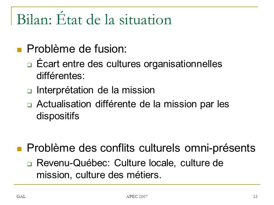 GAL APEC 2007 13 Bilan: État de la situation Problème de fusion: Écart entre des cultures organisationnelles différentes: Interprétation de la mission