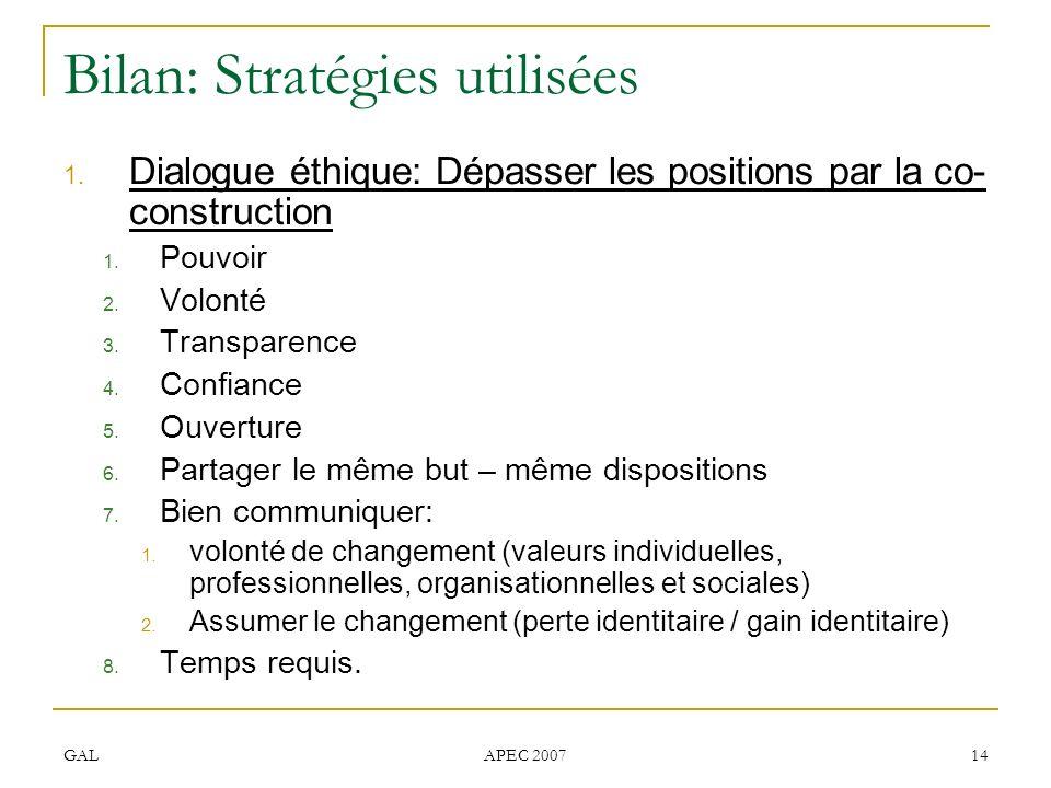 GAL APEC 2007 14 Bilan: Stratégies utilisées 1. Dialogue éthique: Dépasser les positions par la co- construction 1. Pouvoir 2. Volonté 3. Transparence