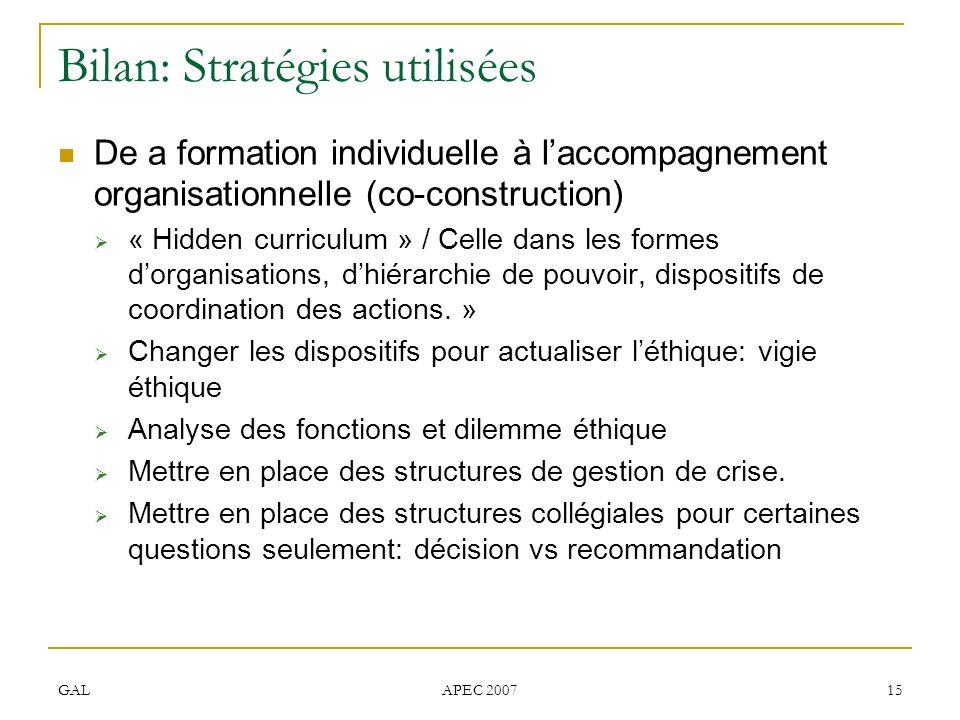 GAL APEC 2007 15 Bilan: Stratégies utilisées De a formation individuelle à laccompagnement organisationnelle (co-construction) « Hidden curriculum » / Celle dans les formes dorganisations, dhiérarchie de pouvoir, dispositifs de coordination des actions.