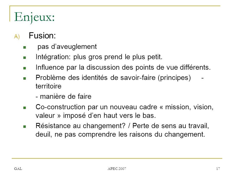 GAL APEC 2007 17 Enjeux: A) Fusion: pas daveuglement Intégration: plus gros prend le plus petit. Influence par la discussion des points de vue différe