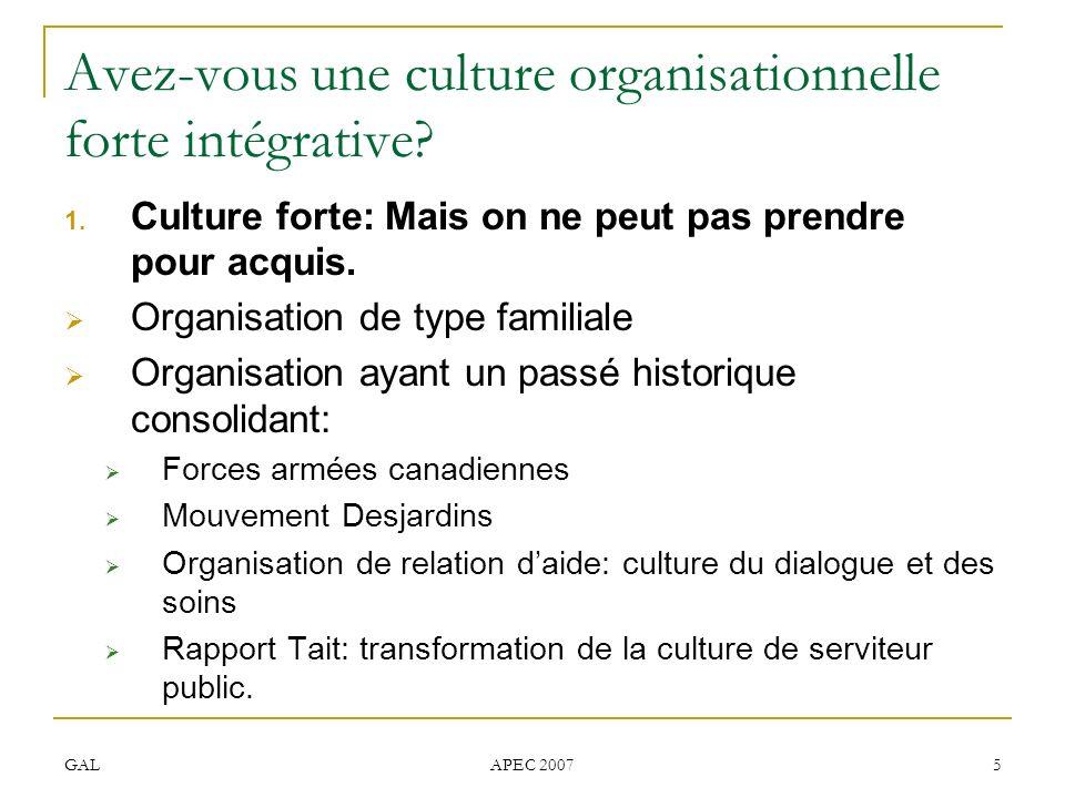 GAL APEC 2007 5 Avez-vous une culture organisationnelle forte intégrative? 1. Culture forte: Mais on ne peut pas prendre pour acquis. Organisation de