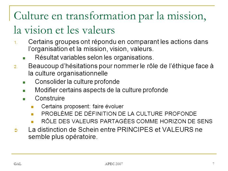 GAL APEC 2007 7 Culture en transformation par la mission, la vision et les valeurs 1. Certains groupes ont répondu en comparant les actions dans lorga