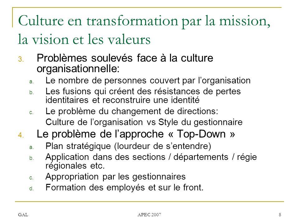 GAL APEC 2007 8 Culture en transformation par la mission, la vision et les valeurs 3. Problèmes soulevés face à la culture organisationnelle: a. Le no