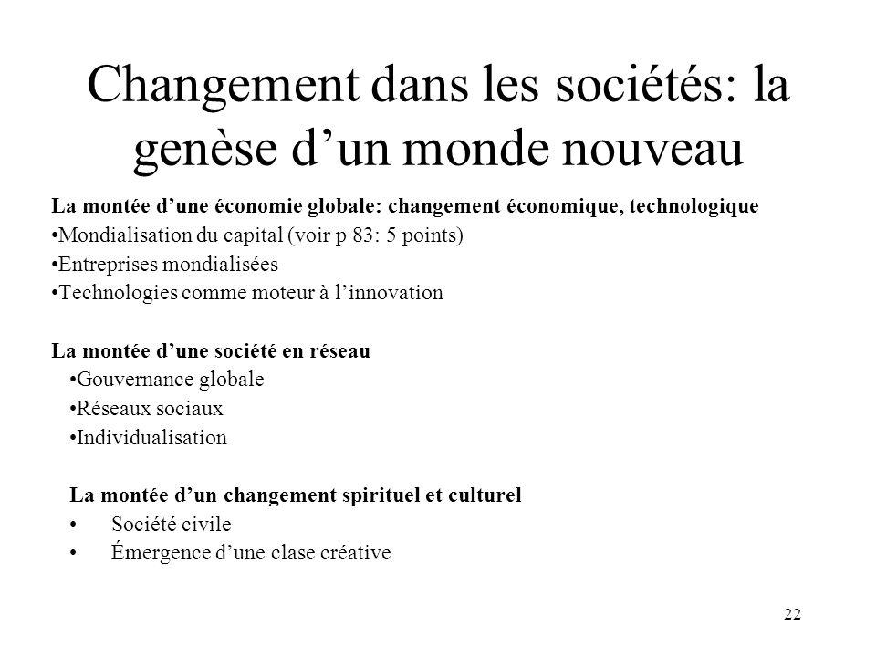 22 Changement dans les sociétés: la genèse dun monde nouveau La montée dune économie globale: changement économique, technologique Mondialisation du c