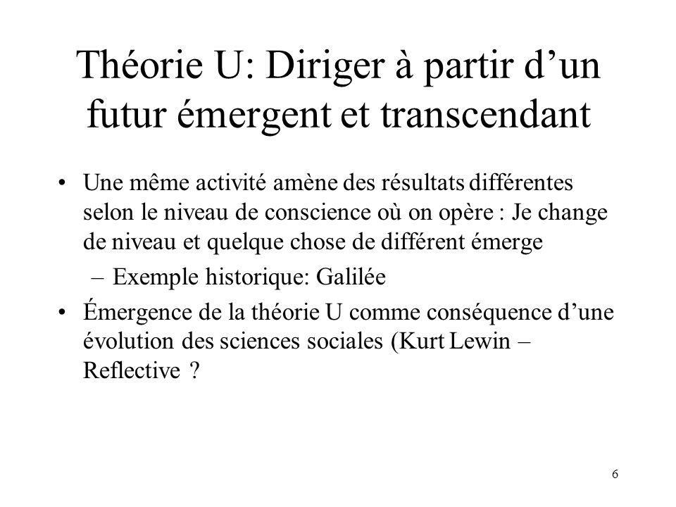 7 Théorie U: Diriger à partir dun futur émergent et transcendant Se veut une synthèse de trois aspects –Sciences: donner –Action recherche: on ne peut pas expliquer un problème à moins quon ne le change –Évolution de conscience et de lindividu (« éclairer le trou noir »)