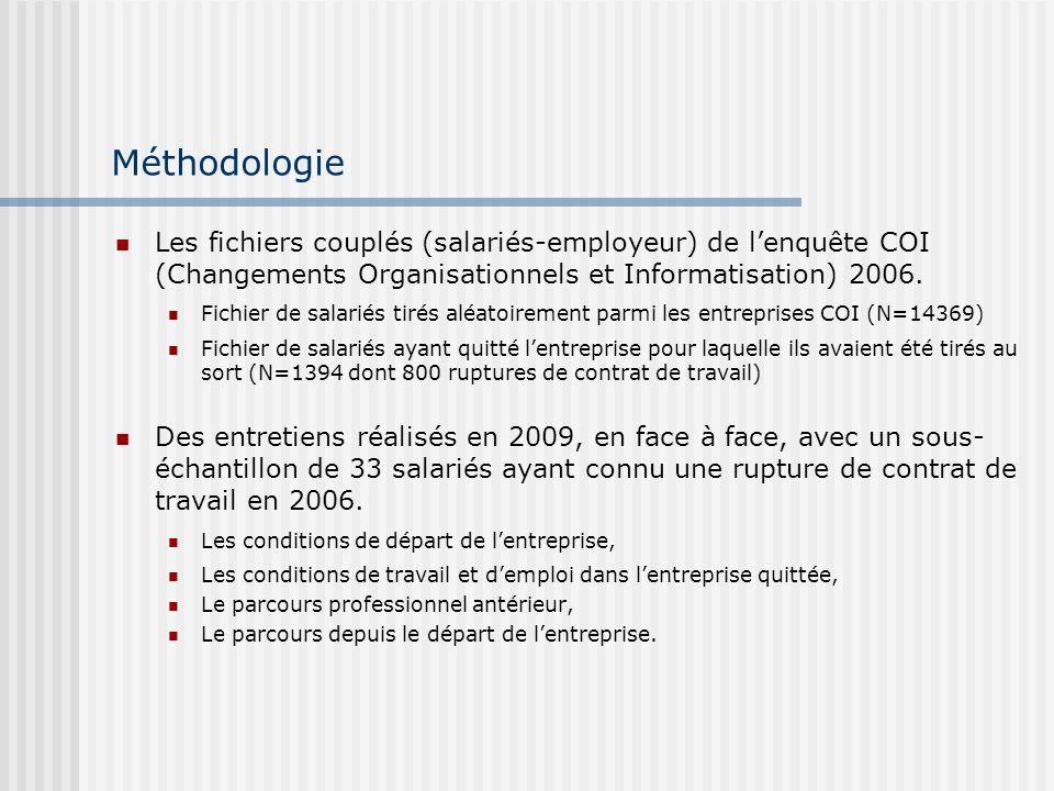 Méthodologie Les fichiers couplés (salariés-employeur) de lenquête COI (Changements Organisationnels et Informatisation) 2006.