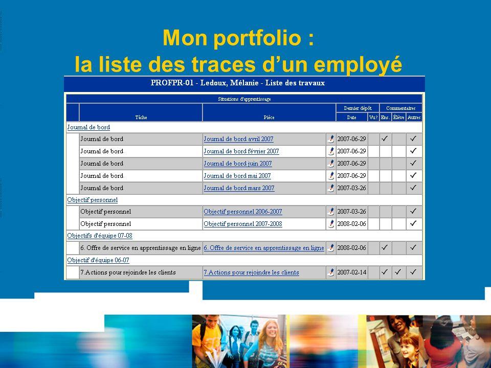 Mon portfolio : la liste des traces dun employé