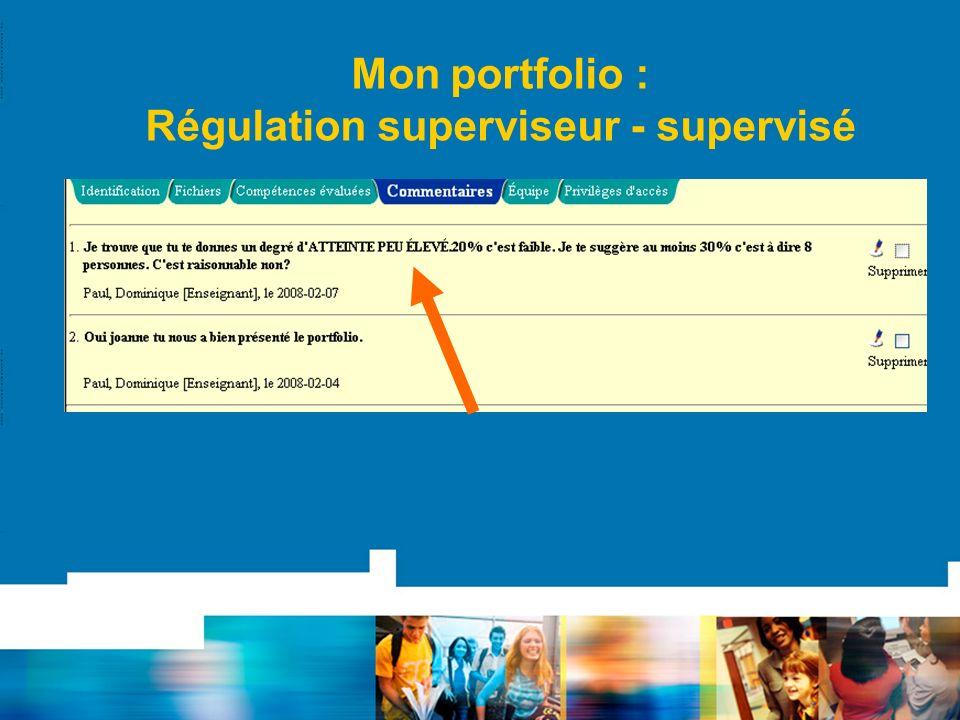 Mon portfolio : Régulation superviseur - supervisé