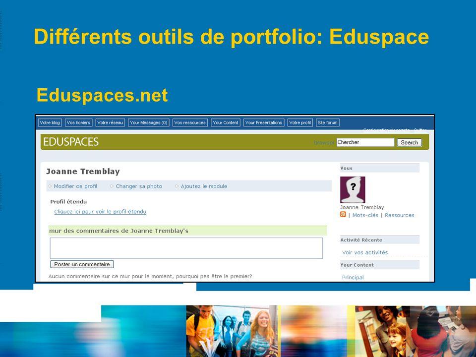 Différents outils de portfolio: Eduspace Eduspaces.net