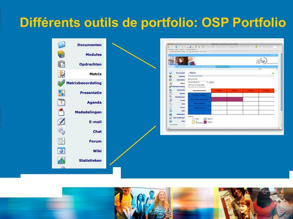 Différents outils de portfolio: OSP Portfolio