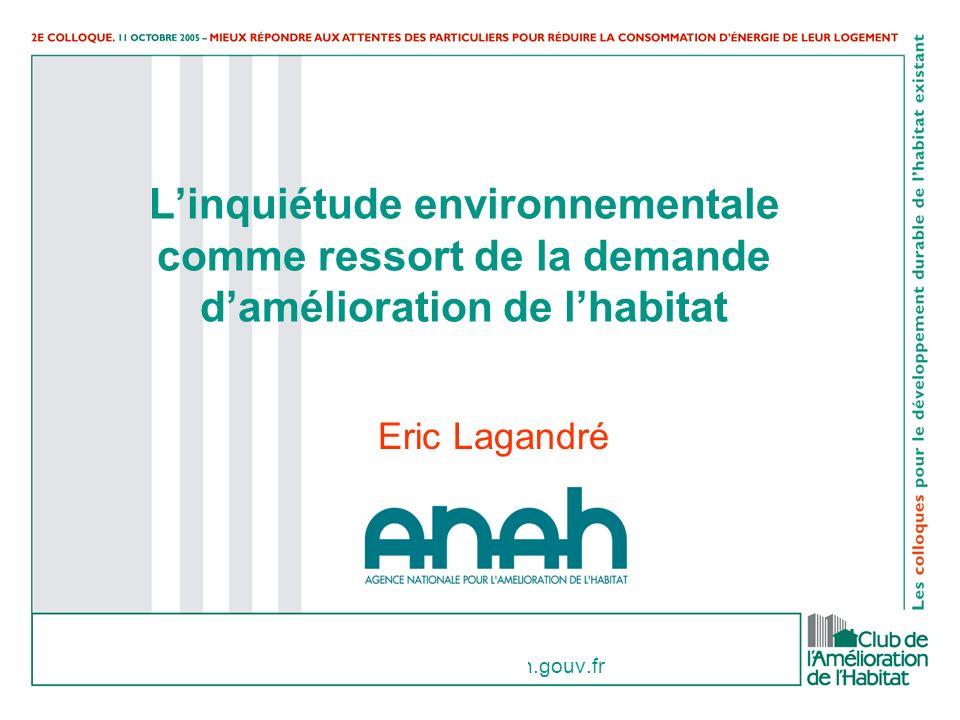 eric.lagandre@anah.gouv.fr Linquiétude environnementale comme ressort de la demande damélioration de lhabitat Eric Lagandré