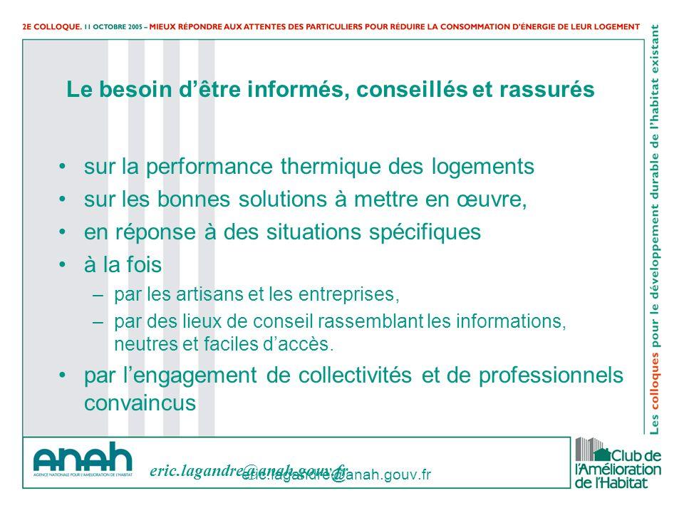 eric.lagandre@anah.gouv.fr Le besoin dêtre informés, conseillés et rassurés sur la performance thermique des logements sur les bonnes solutions à mett