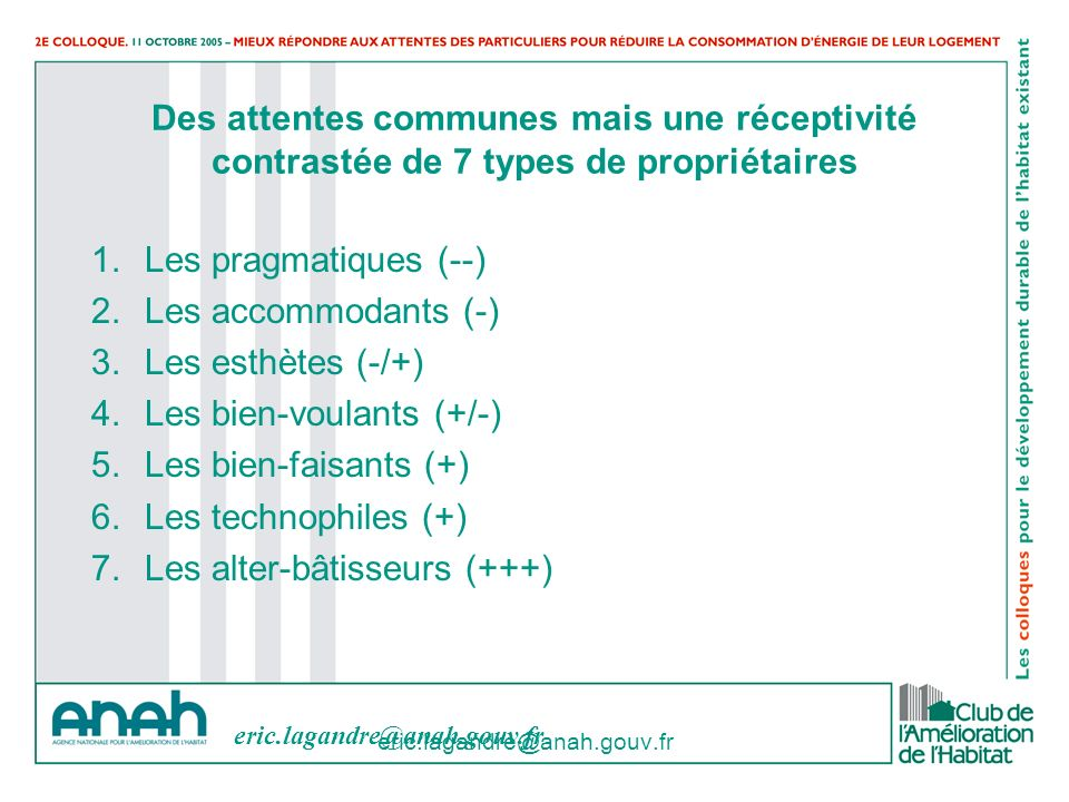 eric.lagandre@anah.gouv.fr Des attentes communes mais une réceptivité contrastée de 7 types de propriétaires 1.Les pragmatiques (--) 2.Les accommodant