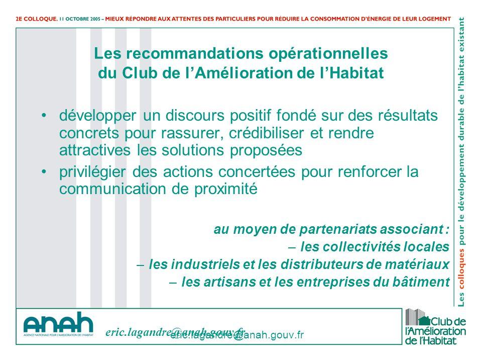 eric.lagandre@anah.gouv.fr Les recommandations opérationnelles du Club de lAmélioration de lHabitat développer un discours positif fondé sur des résul