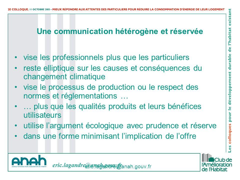 eric.lagandre@anah.gouv.fr Une communication hétérogène et réservée vise les professionnels plus que les particuliers reste elliptique sur les causes