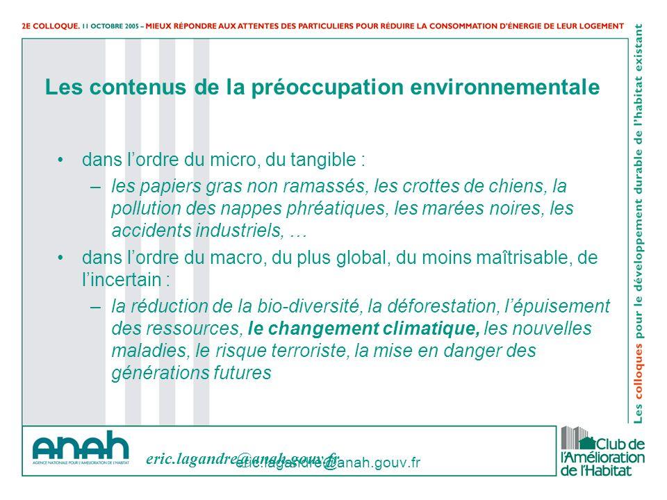eric.lagandre@anah.gouv.fr Les contenus de la préoccupation environnementale dans lordre du micro, du tangible : –les papiers gras non ramassés, les c