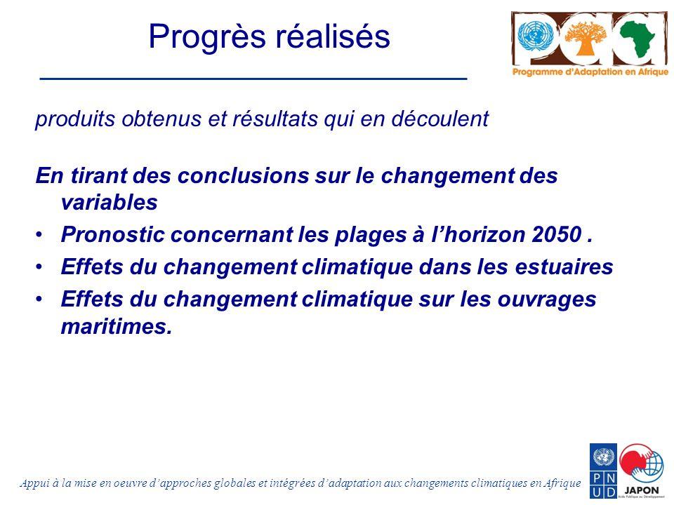 Appui à la mise en oeuvre dapproches globales et intégrées dadaptation aux changements climatiques en Afrique Progrès réalisés produits obtenus et résultats qui en découlent En tirant des conclusions sur le changement des variables Pronostic concernant les plages à lhorizon 2050.