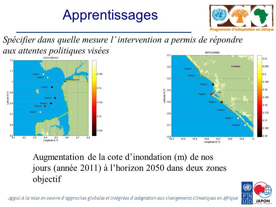 Appui à la mise en oeuvre dapproches globales et intégrées dadaptation aux changements climatiques en Afrique Augmentation de la cote dinondation (m) de nos jours (année 2011) à lhorizon 2050 dans deux zones objectif Apprentissages Spécifier dans quelle mesure l intervention a permis de répondre aux attentes politiques visées