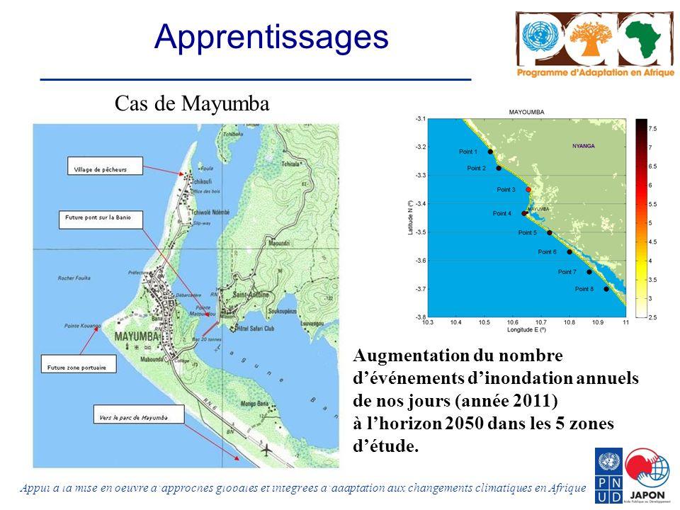 Appui à la mise en oeuvre dapproches globales et intégrées dadaptation aux changements climatiques en Afrique Apprentissages Augmentation du nombre dévénements dinondation annuels de nos jours (année 2011) à lhorizon 2050 dans les 5 zones détude.