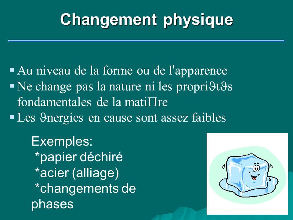 Changement physique Au niveau de la forme ou de l ' apparence Ne change pas la nature ni les propri J t J s fondamentales de la mati P re Les J nergie