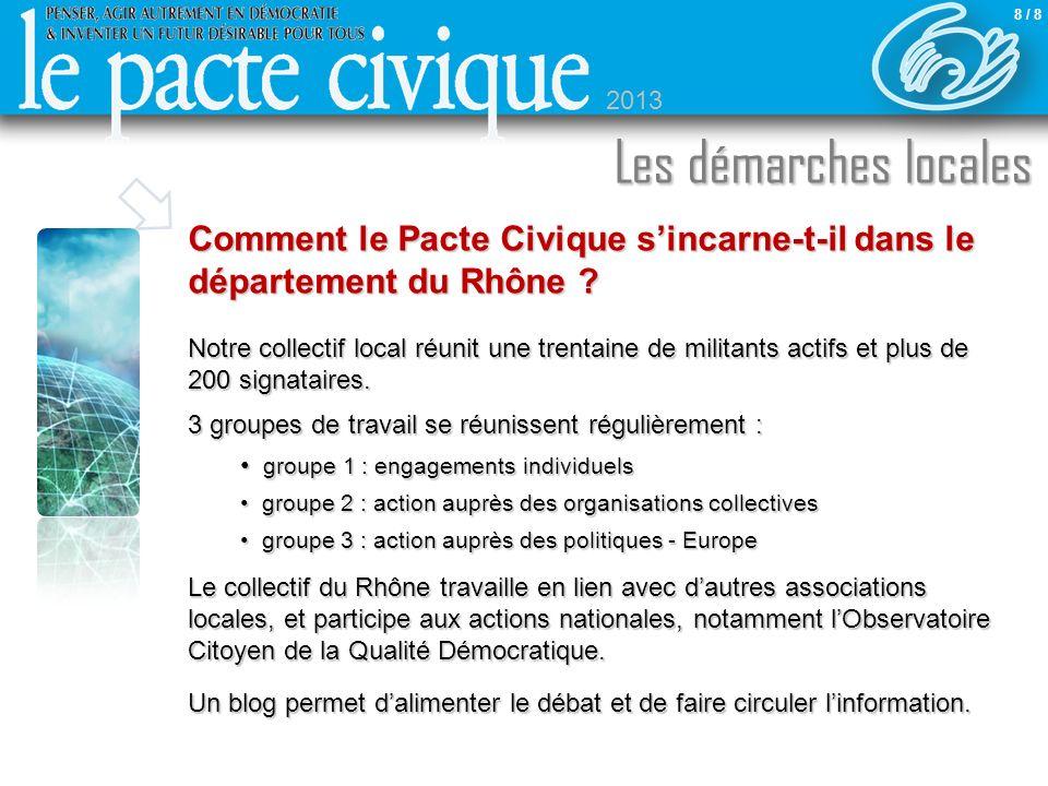 Comment le Pacte Civique sincarne-t-il dans le département du Rhône ? Notre collectif local réunit une trentaine de militants actifs et plus de 200 si