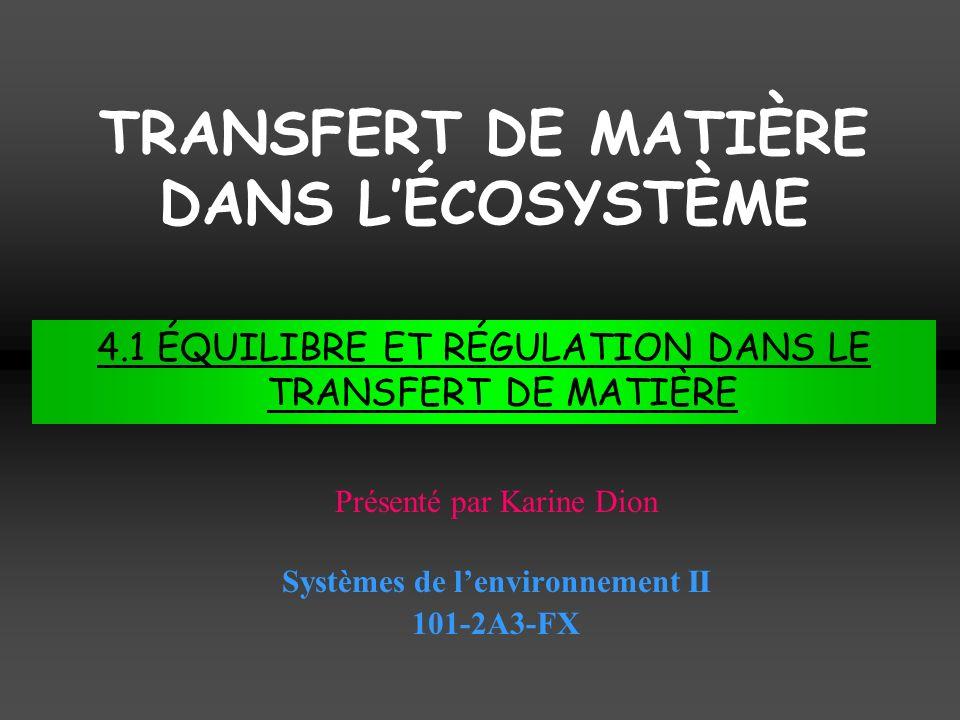 Systèmes de lenvironnement II 101-2A3-FX Présenté par Karine Dion 4.1 ÉQUILIBRE ET RÉGULATION DANS LE TRANSFERT DE MATIÈRE TRANSFERT DE MATIÈRE DANS LÉCOSYSTÈME