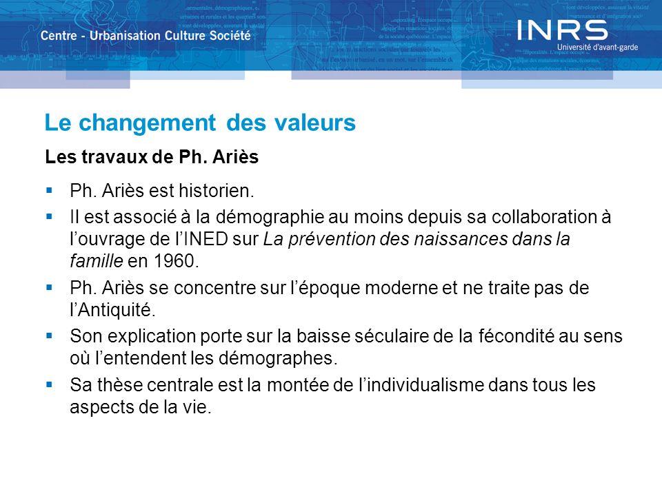 Le changement des valeurs Les travaux de Ph. Ariès Ph. Ariès est historien. Il est associé à la démographie au moins depuis sa collaboration à louvrag