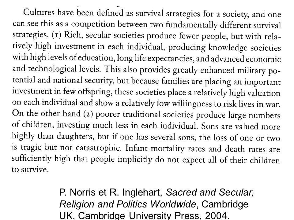 P. Norris et R. Inglehart, Sacred and Secular, Religion and Politics Worldwide, Cambridge UK, Cambridge University Press, 2004.