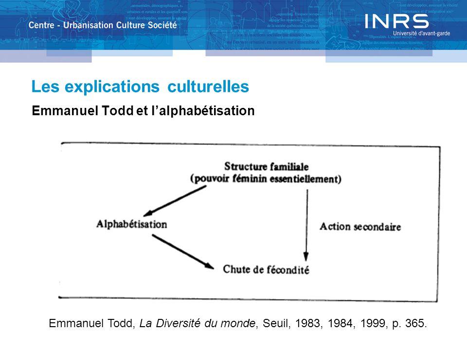 Les explications culturelles Emmanuel Todd et lalphabétisation Emmanuel Todd, La Diversité du monde, Seuil, 1983, 1984, 1999, p. 365.
