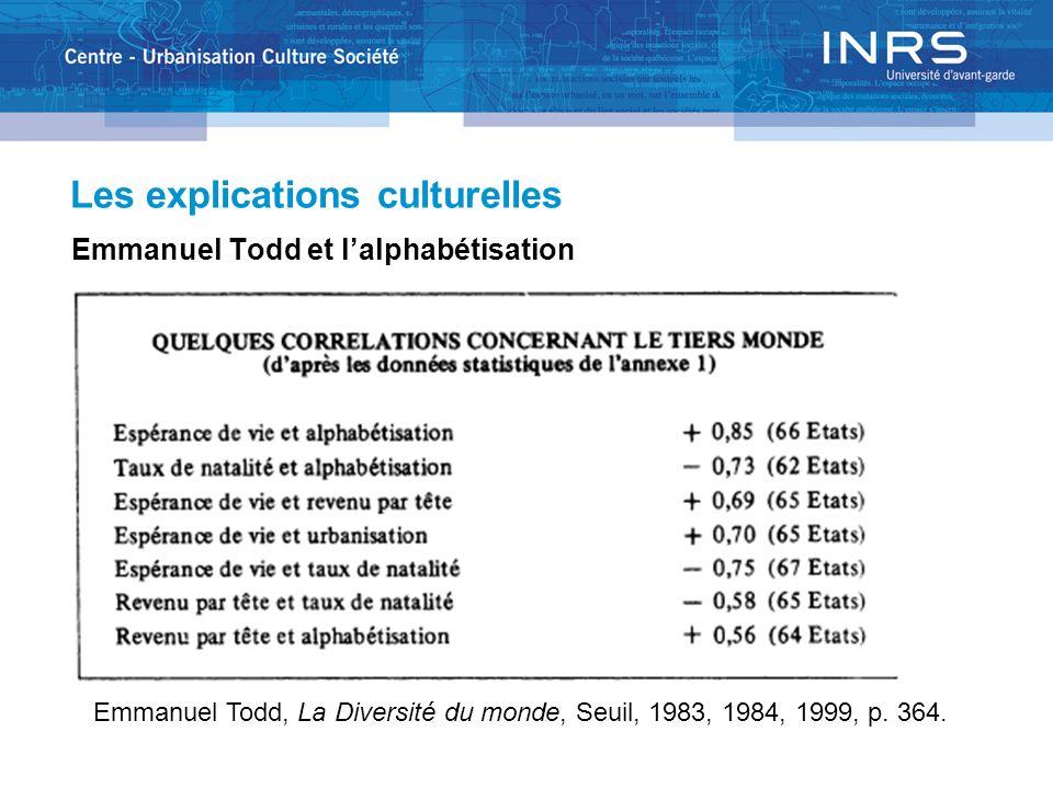 Les explications culturelles Emmanuel Todd et lalphabétisation Emmanuel Todd, La Diversité du monde, Seuil, 1983, 1984, 1999, p. 364.
