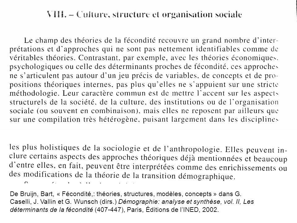 De Bruijn, Bart, « Fécondité,: théories, structures, modèles, concepts » dans G. Caselli, J. Vallin et G. Wunsch (dirs.) Démographie: analyse et synth