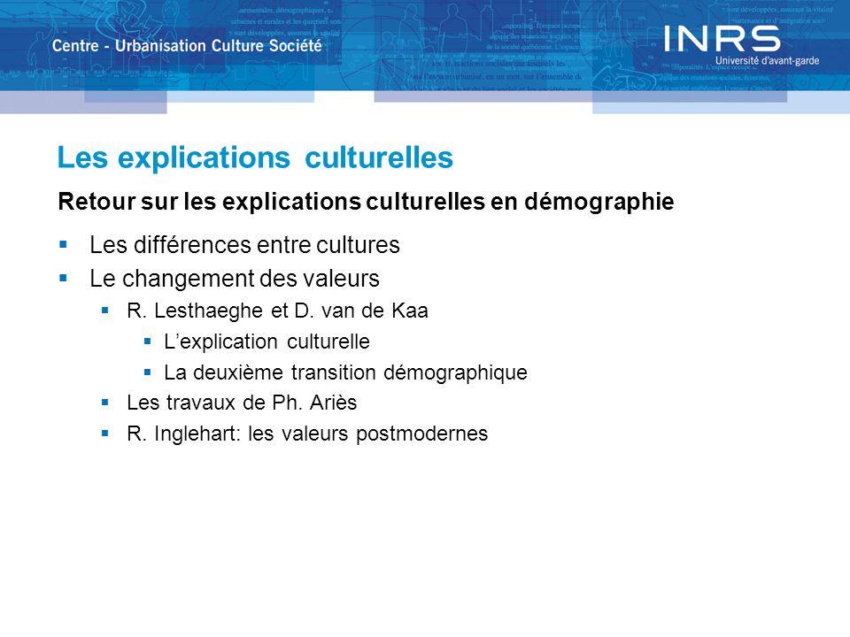 Les explications culturelles Retour sur les explications culturelles en démographie Les différences entre cultures Le changement des valeurs R. Lestha