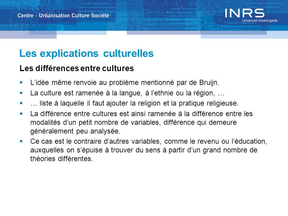 Les explications culturelles Les différences entre cultures Lidée même renvoie au problème mentionné par de Bruijn. La culture est ramenée à la langue